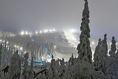 Skiort am Abend Lizenzfreie Stockbilder