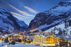 Skiort in den französischen Alpen Lizenzfreies Stockfoto