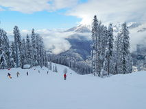 Skiort Gornaya-karusel, Krasnaya Polyana, Sochi, Russland 1500 Meter Januar 2015 Lizenzfreies Stockfoto