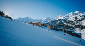 Skiort Meribel - Mottaret Stockfotos