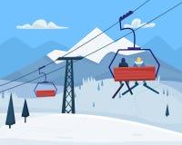 Skiort mit Leute-, Aufzug- und Winterbergen gestalten landschaftlich vektor abbildung