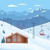 Skiort mit Sesselbahn, Haus, Chalet, Winterberglandschaft, Schnee lizenzfreie abbildung