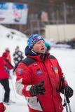 Skiort Protasov Yar Ukraine, Kiew am 25. Januar 2015 Die Skisteigung Skischulkaukasischer Porträtmann ausbilder Trainer trai stockfoto
