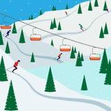 Skiortschneeberglandschaft, Skifahrer auf Steigungen, Skilifte Winterlandschaft mit der Skisteigung umfasst mit Schnee, Bäumen un Stockbilder