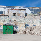 A skip full of rubble on construction site Royalty Free Stock Photography