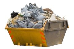 Skip with refuse/trash sacks isolated - sideview Stock Photos