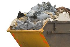 Skip with refuse/trash sacks isolated - sideview Stock Images