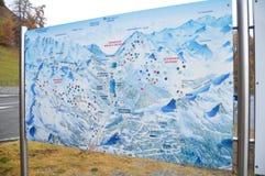 Skiparadise Nauders地图在乡下在波尔查诺或在意大利bozen 图库摄影