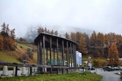 Skiparadise Nauders汽车停车处在波尔查诺或bozen,意大利 库存照片
