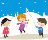 Skipping. Vector illustration of three kids skipping Stock Photo