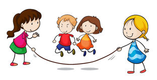 Skipping. Illustration of a group skipping Stock Photo