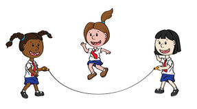 Skipping Children. Illustration of cartoon children of different ethnicity skipping together Royalty Free Stock Photography