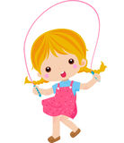 Skipping girl. Illustration of cute skipping girl Royalty Free Stock Photography