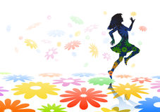 Skipping girl. Editable  silhouette of a carefree girl skipping across colorful flowers Stock Images