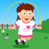 Skipping Girl in the Park. Kids and sport series: a girl playing with a skipping rope in a park. Eps file available Royalty Free Stock Photos