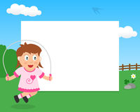 Skipping Girl in the Park Horizontal Frame Stock Image