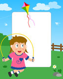 Skipping Girl Photo Frame. Photo frame, invitation card or page for your scrapbook. Subject: a girl playing with a skipping rope in a park. Eps file available Royalty Free Stock Photography