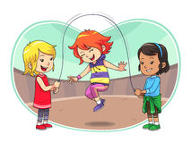 Skipping Jump Play. A group of children playing skipping jump Royalty Free Stock Photography