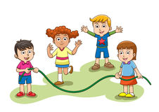 Skipping Jump Play. A group of children playing skipping jump. EPS10 File  simple Gradients Royalty Free Stock Image