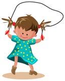 Skipping. Line art funny cartoon of skipping kid toddler Royalty Free Stock Photo