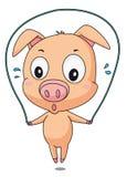 Skipping pig. Illustration of a pig skipping Royalty Free Stock Photo