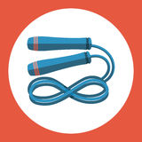 Skipping rope icon. Blue skipping rope on a red background. Sports Equipment. Vector Illustration. Stock Images