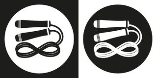 Skipping rope icon. Silhouette skipping rope on a black and white background. Sports Equipment. Vector Illustration. Royalty Free Stock Image