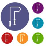 Skipping rope icons set. In flat circle reb, blue and green color for web Stock Photos