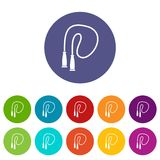 Skipping rope set icons Stock Images
