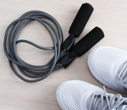 Skipping rope with sport shoes Royalty Free Stock Photography