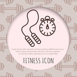 Skipping rope and stopwatch icons Royalty Free Stock Images