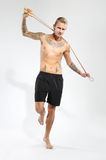 Skipping rope, training, warm-up Royalty Free Stock Images