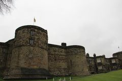 Skipton Castle in Skipton in the Craven district of North Yorkshire, England. Skipton Castle is a medieval castle in Skipton in the Craven district of North Stock Images