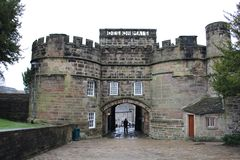 Skipton Castle in Skipton in the Craven district of North Yorkshire, England. Skipton Castle is a medieval castle in Skipton in the Craven district of North Royalty Free Stock Photos