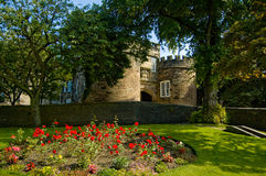 Skipton castle under the trees. A view near to the entrance of skipton castle in yorkshire Stock Photo