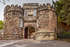 Skipton Castle, Yorkshire, United Kingdom. Skipton Castle is a medieval castle in Skipton, North Yorkshire, England. It was built in 1090 by Robert de Romille Stock Photography