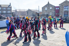 SKIPTON ENGLAND APRIL 6TH: Morris dancers put on a public displa Royalty Free Stock Photography