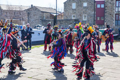 SKIPTON ENGLAND APRIL 6TH: Morris dancers put on a public displa Royalty Free Stock Photo