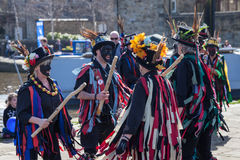 SKIPTON ENGLAND APRIL 6TH: Morris dancers put on a public displa Royalty Free Stock Image