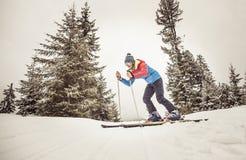 Skiër in actie Stock Afbeelding
