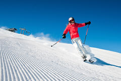 Skiër in hightberg Stock Afbeelding