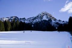 Skiërs die onderaan de helling gaan Royalty-vrije Stock Afbeelding