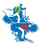Skiërs op de grungeachtergrond Royalty-vrije Stock Afbeeldingen