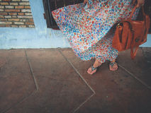 Skirt blown by the wind. Flowing skirt blown by the wind Stock Images