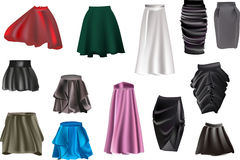 Skirt collection isolated on white stock illustration
