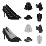 Skirt with folds, leather gloves, women hat with a bow, shirt on the fastener. Women clothing set collection icons in. Black,monochrom style vector symbol stock Royalty Free Stock Photos