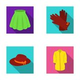 Skirt with folds, leather gloves, women`s hat with a bow, shirt on the fastener. Women`s clothing set collection icons Royalty Free Stock Images