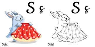 skirt Lettera S, pagina di coloritura di alfabeto di vettore Illustrazione Vettoriale