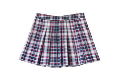 Skirt. Pleated plaid school uniform skirt on white background Stock Photography