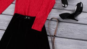 Skirt and red evening top. stock video footage